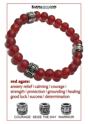 Yoga bracelets. Warrior Courage Seize the day mens wristband jewelry.   Matte Red Agate.