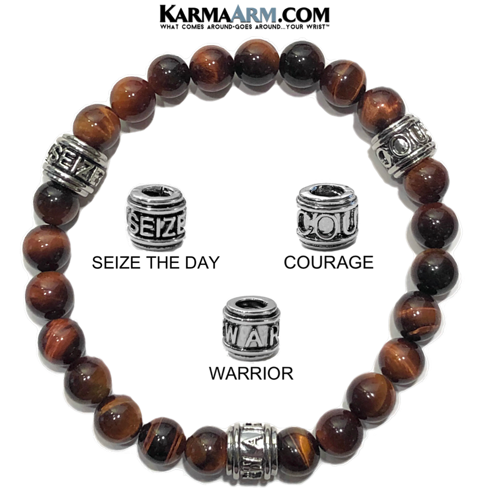 Meditation Mantra Yoga Bracelet. Warrior Courage Seize the day Jewelry.  Red Tiger Eye.