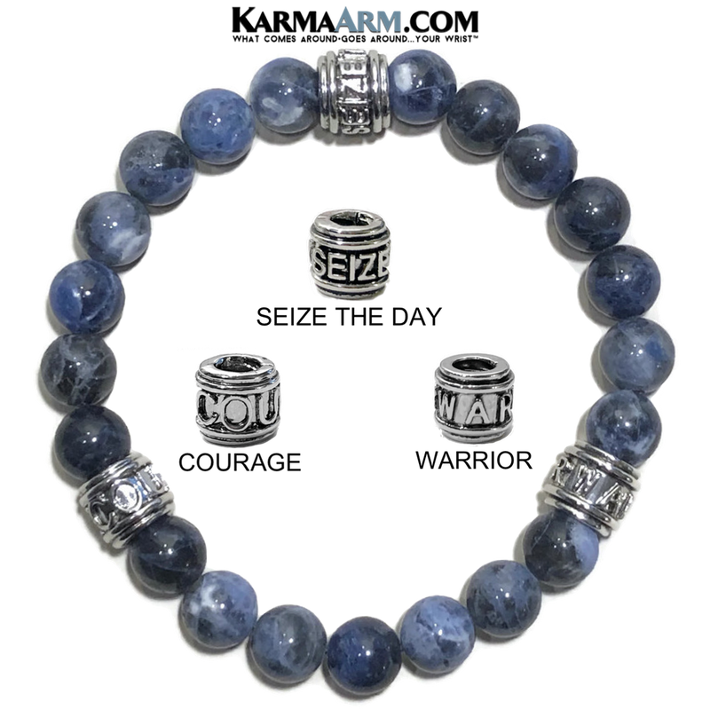 Meditation Mantra Yoga Bracelet. Warrior Courage Seize the day Jewelry. Sodalite.