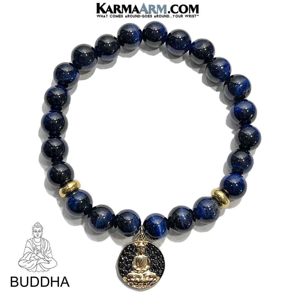 Buddha Charm Meditation Wellness Self-Care Mantra Yoga Bracelets. Mens Wristband Jewelry. Blue Tiger Eye.