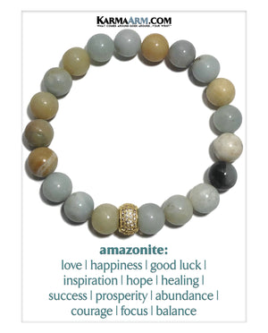 Meditation Mantra Yoga Bracelets. Mens Wristband Jewelry. Amazonite.