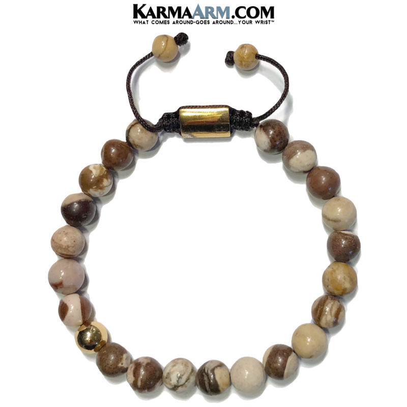 Meditation Mantra Yoga Bracelets. Mens Wristband Jewelry. Brown Zebra Jasper.