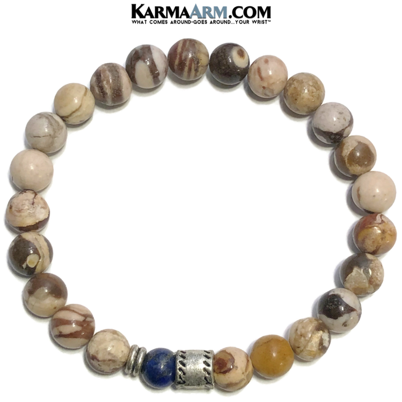 Meditation Mantra Yoga Bracelets. Mens Wristband Jewelry. Brown Zebra Jasper.  Lapis.