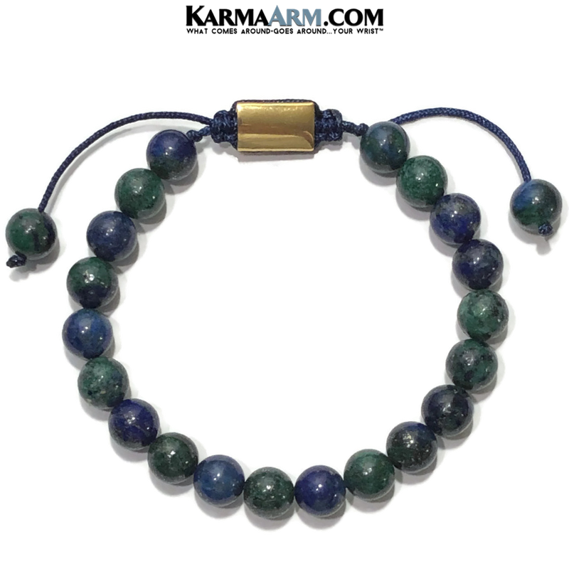 Meditation Mantra Yoga Bracelets. Mens Wristband Jewelry. Chrysocolla.