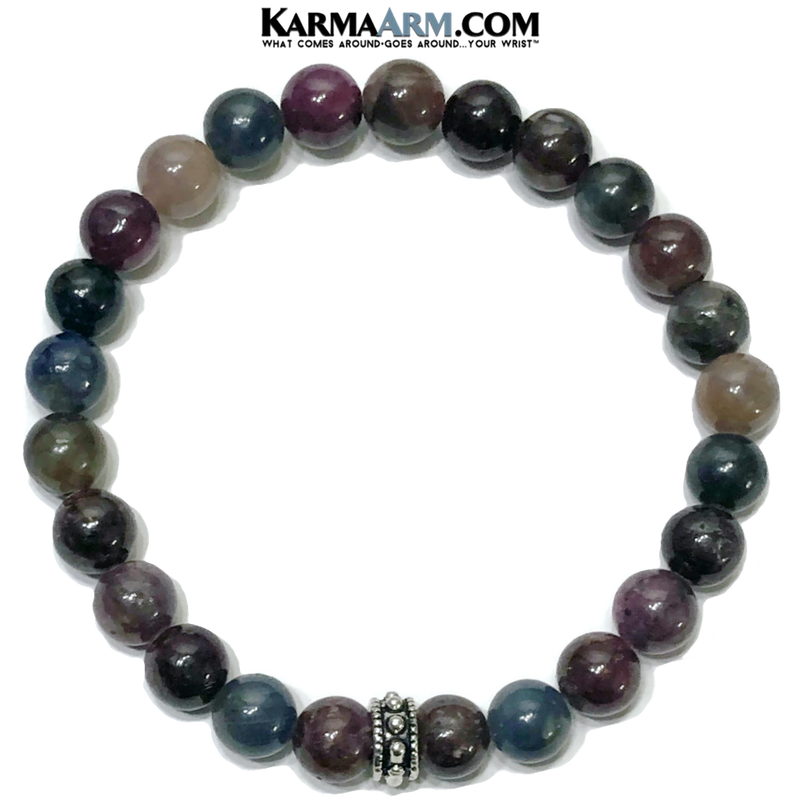 Wellness Self-Care Meditation Mantra Yoga Bracelets. Mens Wristband Jewelry. Corundum. copy
