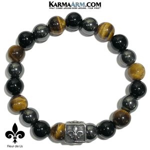 Meditation Mantra Yoga Bracelets. Mens Wristband Jewelry. Fleur de Lis Tiger Eye Onyx Hematite.