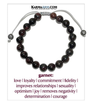 Self-Care Wellness Meditation Mantra Yoga Bracelets. Mens Wristband Jewelry. Garnet Macrame CZ.
