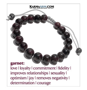 Wellness Self-Care Meditation Mantra Yoga Bracelets. Mens Wristband Jewelry. Garnet Macrame CZ.