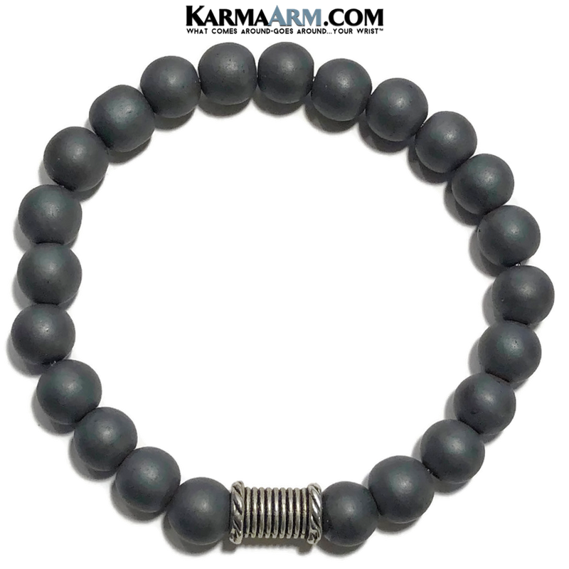 Self-Care Wellness Meditation Mantra Yoga Bracelets. Mens Wristband Jewelry. Hematite.