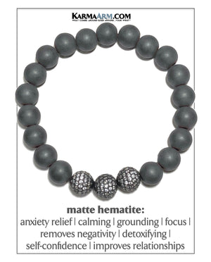 Meditation Mantra Yoga Bracelets. Mens Wristband Jewelry. Hematite. CZ Diamond Balls 10mm.