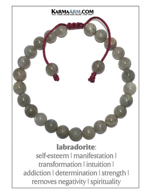 Meditation Mantra Yoga Bracelets. Mens Wristband Jewelry. Labradorite. Red String.