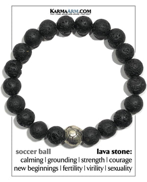 FIFA Soccer Football Meditation Mantra Yoga Bracelets.      Mens Wristband Jewelry. Lava.