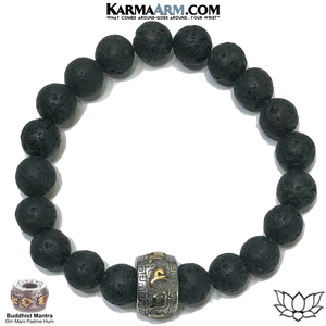 Meditation Mantra Yoga Bracelets. Mens Wristband Jewelry. Lava.
