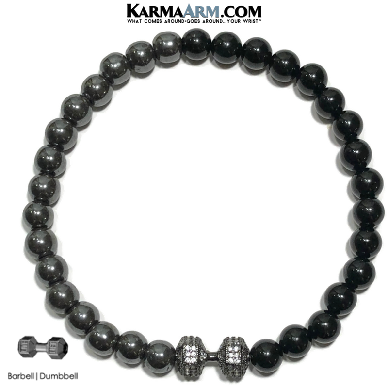 Meditation Mantra Yoga Bracelets. Mens Wristband Jewelry. Onyx Hematite. Barbell dumbbell.