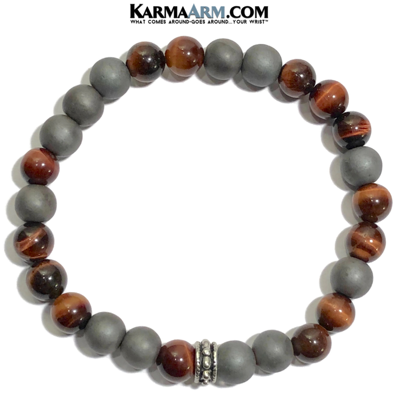 Meditation Mantra Yoga Bracelets. Mens Wristband Jewelry. Red Tiger Eye Hematite.