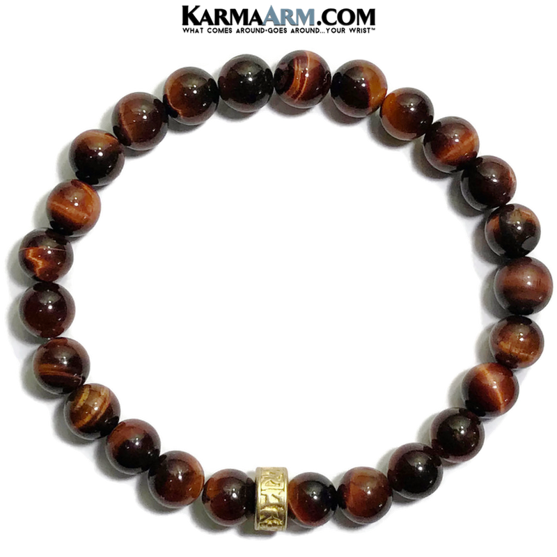 Meditation Mantra Yoga Bracelets. Mens Wristband Jewelry. Red Tiger Eye Om Mani Padme Hum.