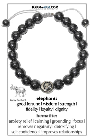 Elephant Meditation Mantra Yoga Bracelets.  Mens Wristband Jewelry. Hematite.
