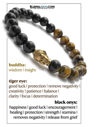 Buddha Tiger Eye Bracelet. Black Onyx Mens Jewelry. Hematite meditation bracelet. Wisdom.  copy