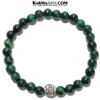 Meditation Mantra Yoga Bracelets. Self-Care Wellness Wristband Jewelry. Green Tiger Eye.