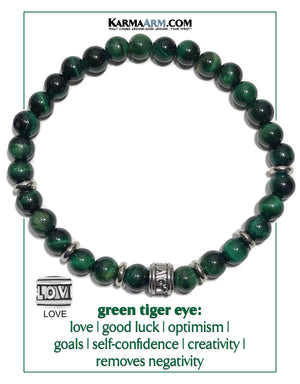 Love Bracelet. Yoga Bracelets. Self-Care Wellness Wristband Jewelry. Green Tiger Eye.