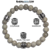 Meditation Mantra Yoga Bracelets. Self-Care Wellness Wristband Jewelry. Grey Feldspar.