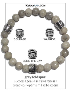 Courage Seize the day Warrior Yoga Bracelets. Self-Care Wellness Wristband Jewelry. Grey Feldspar.