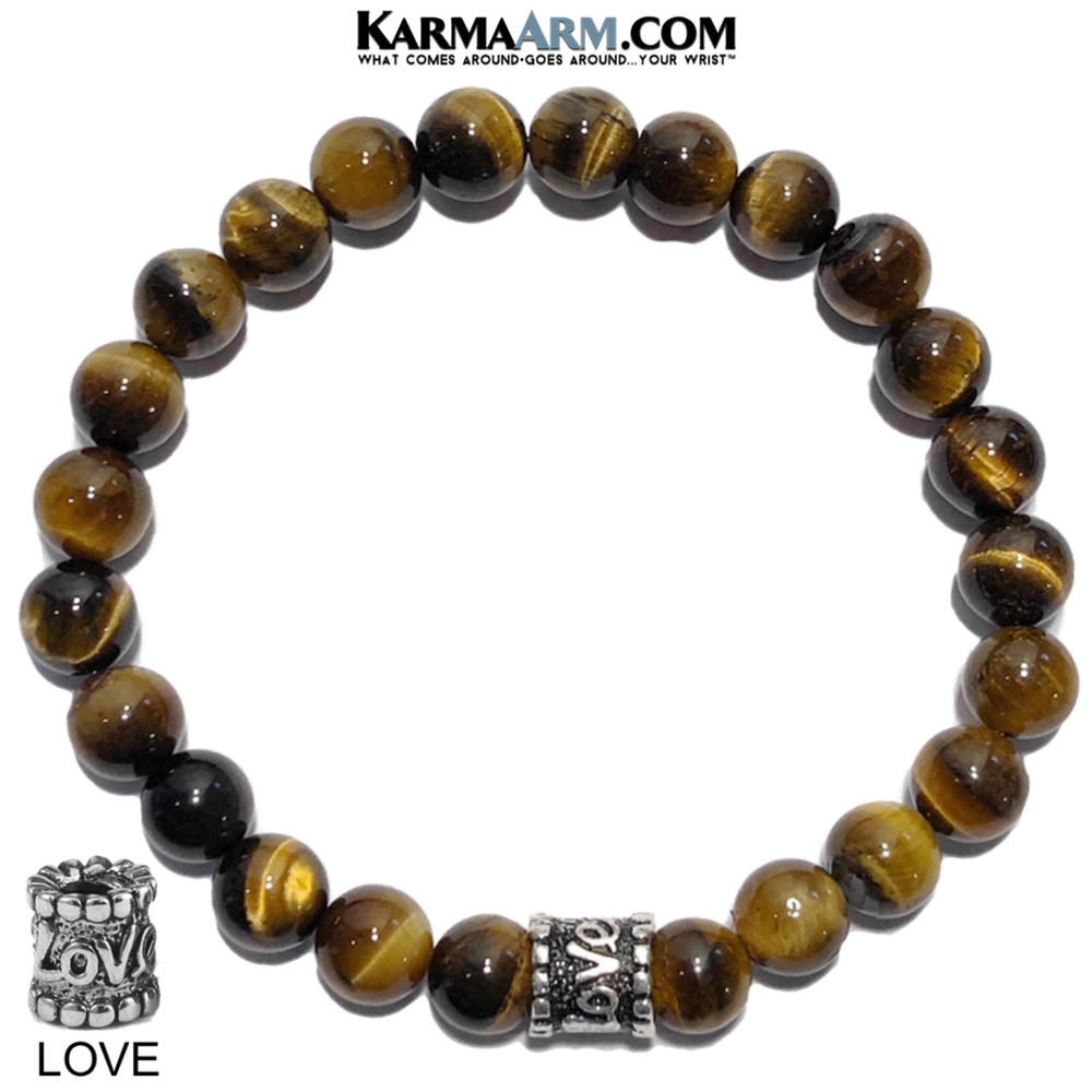 Meditation Mantra Yoga Love Bracelets. Mens Wristband Jewelry. Tiger Eye.