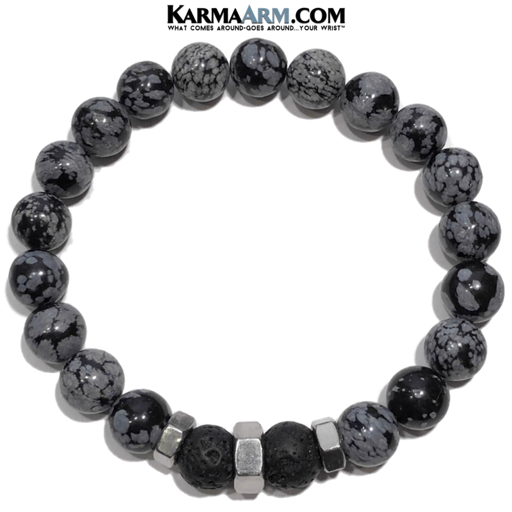 Meditation Mens Bracelet. Self-Care Wellness Wristband Yoga Jewelry. Lava Snowflake Obsidian.