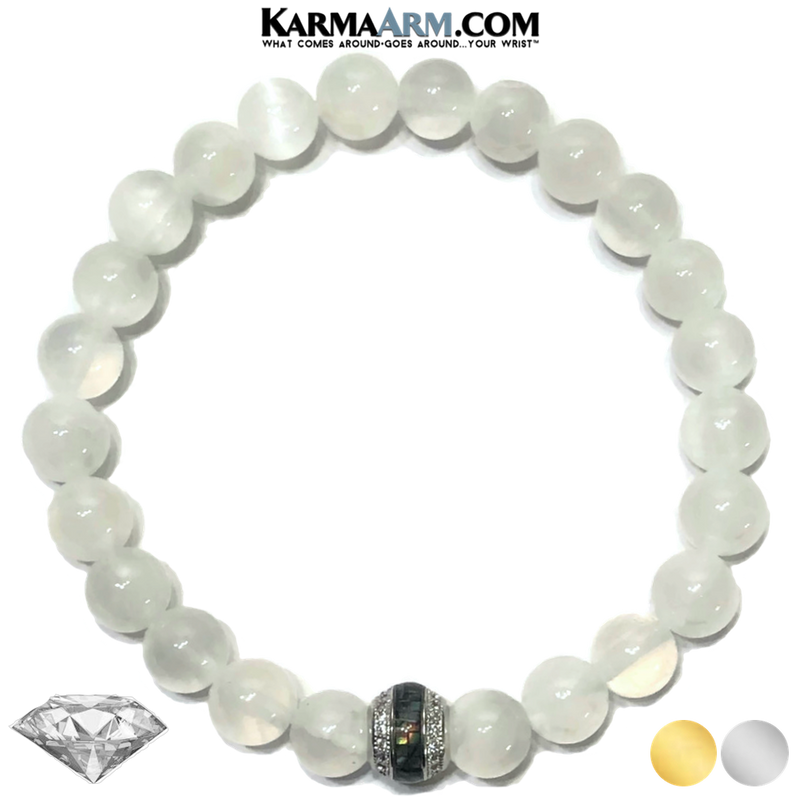Meditation Mens Bracelet. Self-Care Wellness Wristband Yoga Jewelry. Selenite.