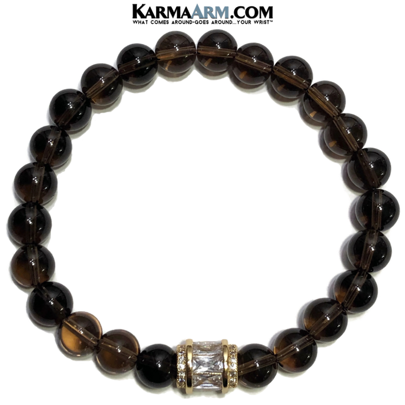Meditation Mens Bracelet. Self-Care Wellness Wristband Yoga Jewelry. Smoky Quartz.