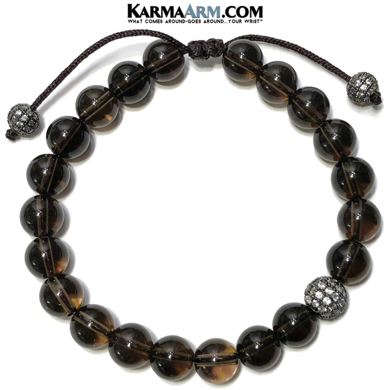 Meditation Mens Yoga Bracelets. Self-Care Wellness Wristband Bead Jewelry. Smoky Quartz.