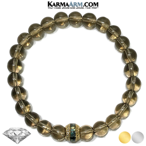 Meditation Mens Bracelet. Self-Care Wellness Wristband Yoga Jewelry. Smoky Quartz Abalone.