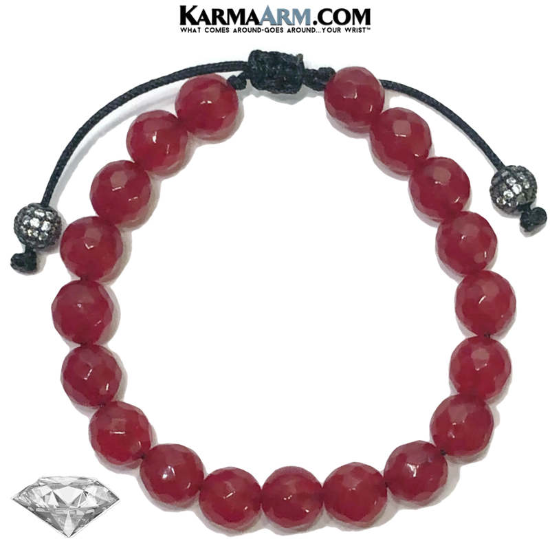 Meditation Mindfulness Yoga Bracelets. Self-Care Wellness Wristband Jewelry. Red Jade.