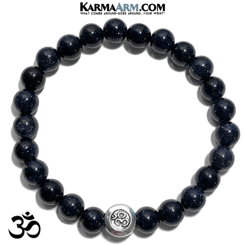 Meditation Self-Care Wellness Mantra Yoga Bracelet. Bead Wristband.  Blue Goldstone.