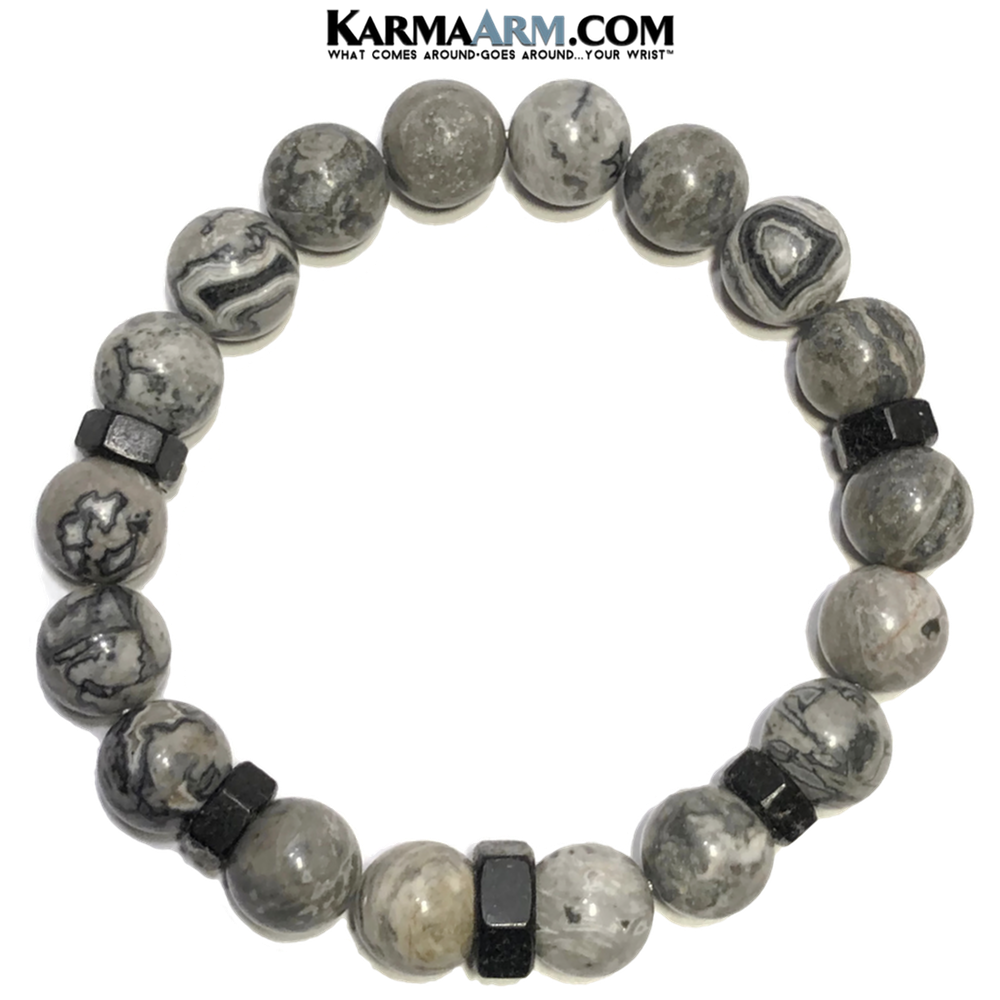 Meditation Self-Care Wellness Mantra Yoga Bracelet. Bead Wristband. Crazy Lace Agate. Black Hex.