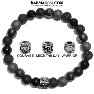 Meditation Self-Care Wellness Mantra Yoga Bracelets. Mens Wristband Jewelry. lava Onyx Hematite.