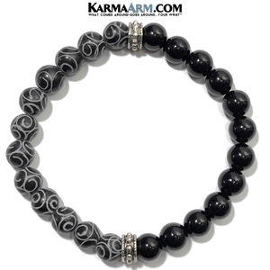 Meditation Self-Care Wellness  Yoga Bracelets. Mens Wristband Jewelry. Black Jade. Onyx Hand Carved.