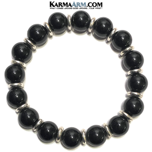 Meditation Self-Care Wellness  Yoga Bracelets. Mens Wristband Jewelry. Black Onyx.
