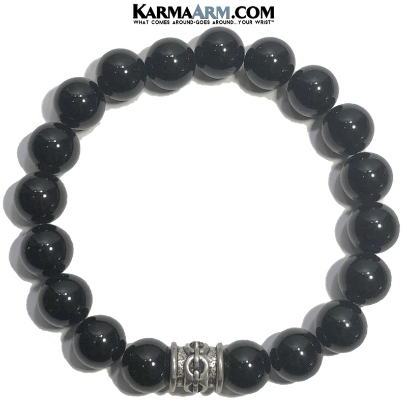 Meditation Self-Care Wellness  Yoga Bracelets. Mens Wristband Jewelry. Black Onyx. chainlink.