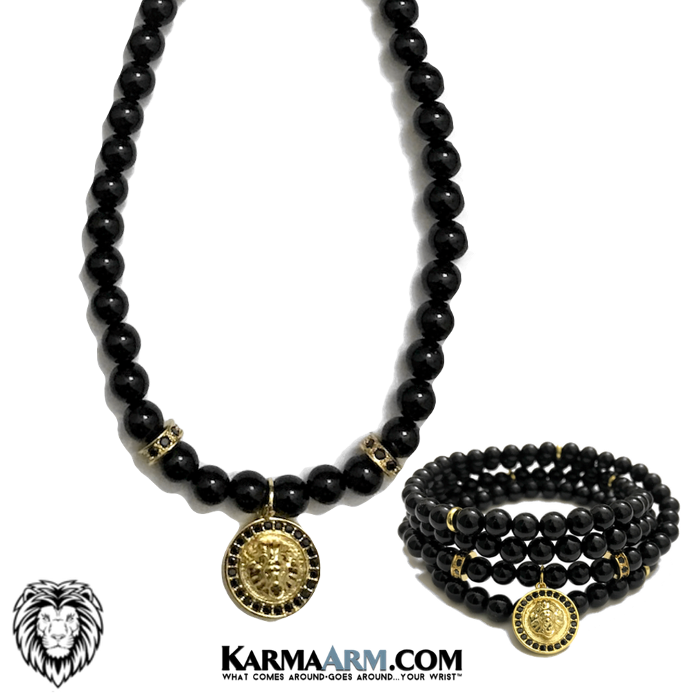 Lion Necklace Wellness Self-Care Meditation Yoga Bracelets. Mens Wristband Jewelry. Black Onyx.