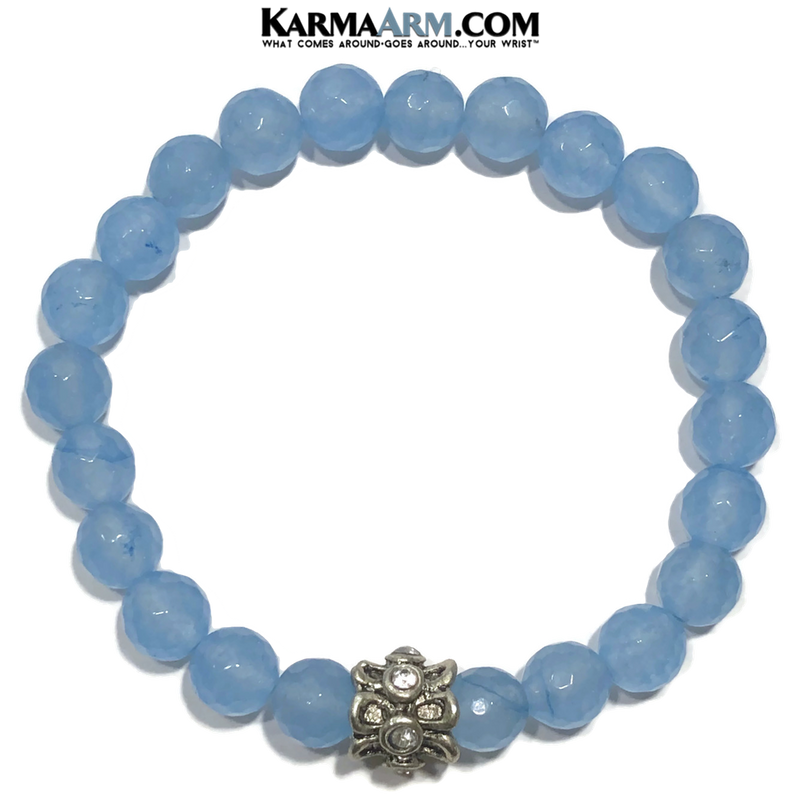 Meditation Self-Care Wellness Yoga Bracelets. Mens Wristband Jewelry. Blue Jade.