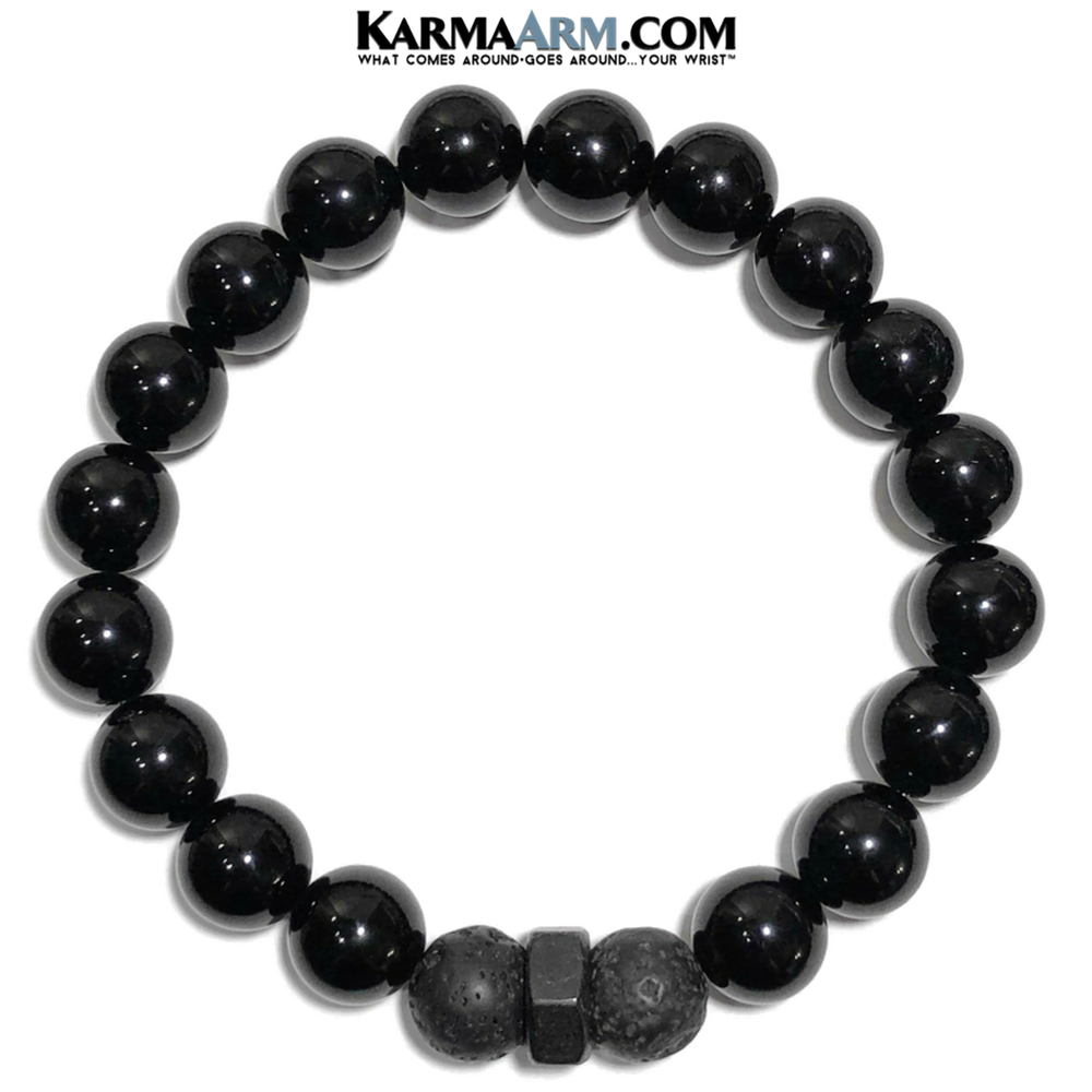 Meditation Self-Care Wellness  Yoga Bracelets. Mens Wristband Jewelry. Lava Black Onyx. Hex.