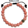 Meditation Self-Care Wellness Yoga Bracelets. Mens Wristband Jewelry. Pink Coral. CZ Diamond.