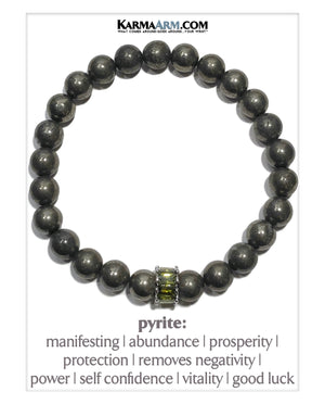 Wellness Meditation Self-Care  Yoga Bracelets. Mens Wristband Jewelry. Pyrite. Olivine CZ Diamond.