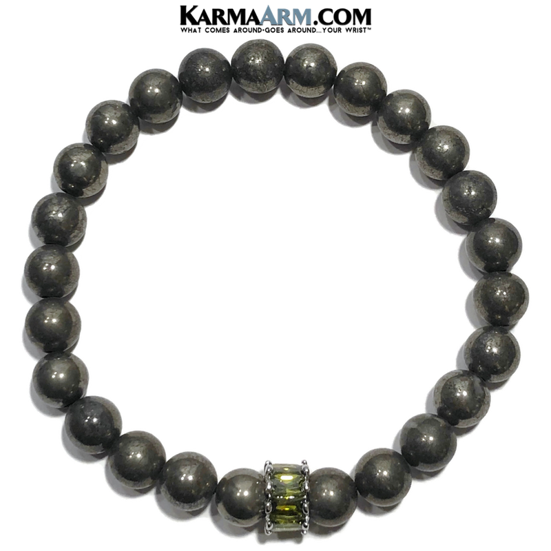Meditation Self-Care Wellness Yoga Bracelets. Mens Wristband Jewelry. Pyrite. Olivine CZ Diamond.