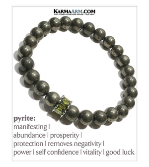 Self-Care Wellness Meditation  Yoga Bracelets. Mens Wristband Jewelry. Pyrite. Olivine CZ Diamond.