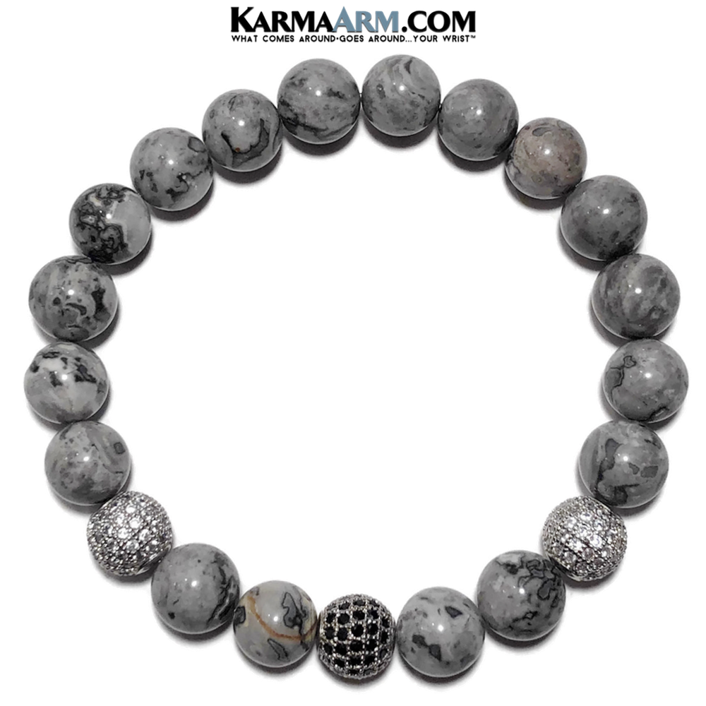 Meditation Self-Care Yoga Bracelet. Mens Wellness Wristband Zen bead mala Jewelry. Silver Crazy Lace Diamond.