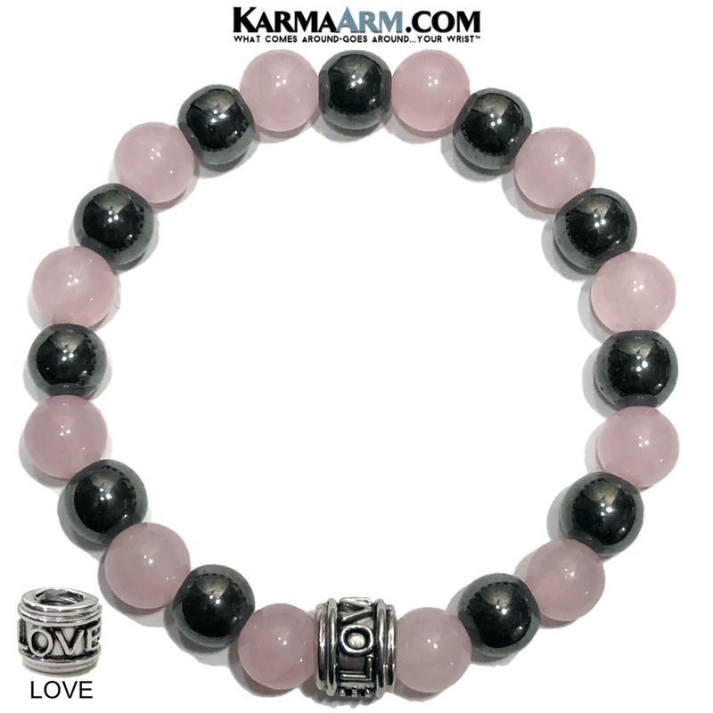 IMPROVING RELATIONSHIPS | Rose Quartz | Hematite LOVE Bead Bracelet