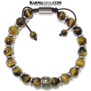 Meditation Self-care wellness Mantra Yoga Bracelets. Mens Wristband Jewelry. Tiger Eye.