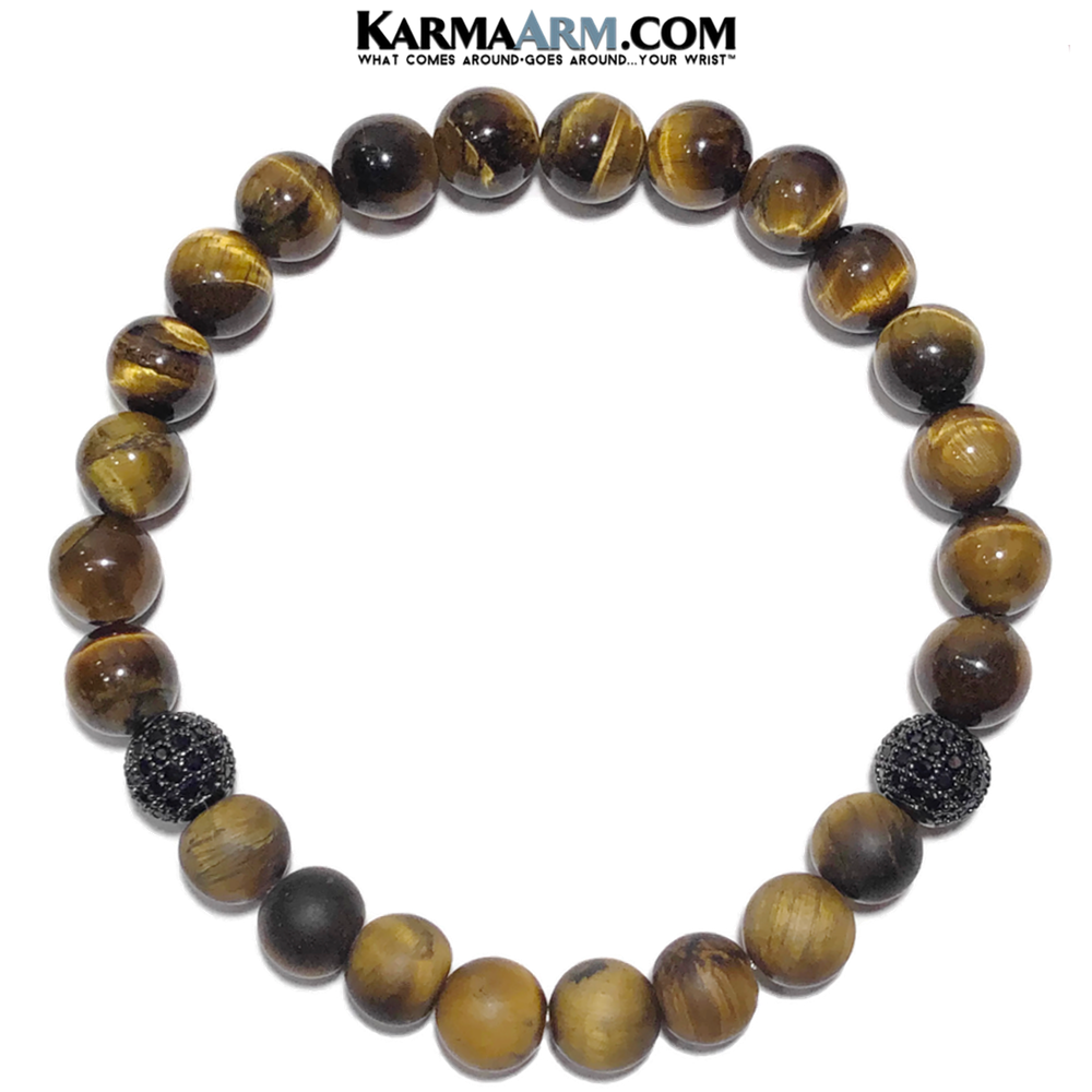 Meditation Self-care wellness Mantra Yoga Bracelets. Mens Wristband Jewelry. Tiger Eye. Matte CZ Diamond Ball.